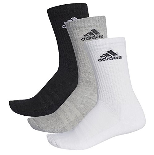 adidas Unisex 3S Performance Crew C Socken 3 Paar , Schwarz (Black/Medium Grey Heather/White) , 39-42