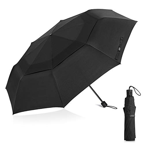 G4Free 62 Inch Large Folding Umbrella XL Compact Golf Umbrella Double Canopy (Black) Michigan