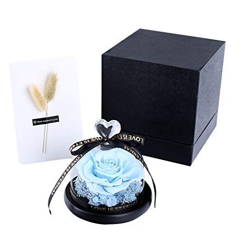 Kunstbloem, Heallege Valentine Handgemaakte Geconserveerde Echte Rose Eeuwige Leven Nooit Verdorde Rozen Bloemen-Blauw