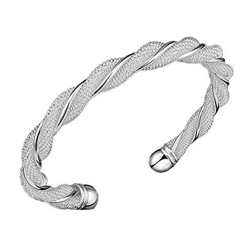 Wansan Elastische Verstellbare Armband Damen-Armband Verdrehten Stahlkabel Armreif Herren Damen Edelstahl Schraube Nägel Verdrehten Stahlkabel Armreif Armband Elastische Verstellbare-