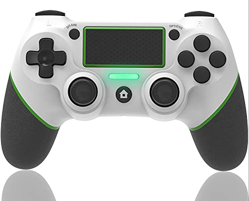 AQCTIM Controller für PS-4/Slim/Pro/PC,Wireless Bluetooth Controller Gamepad Joystick,6-Achsen Dual Vibration,LED Indicator,Touchpanel,Audio Jack Controller(Green)