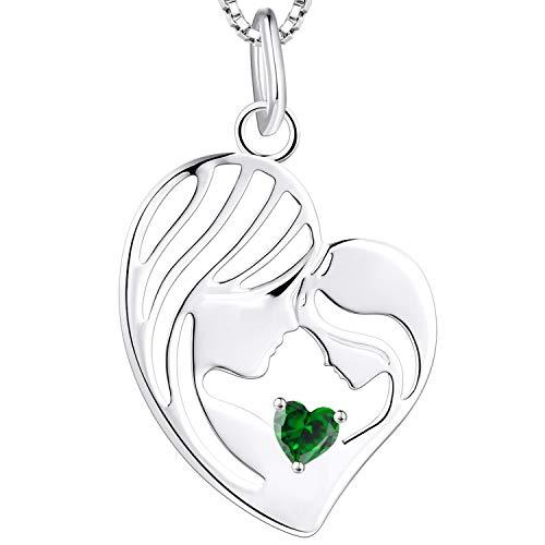 YL Collar de madre e hija 925 plata esterlina verde zirconia cúbica corazón colgante collar regalos para mamá mujeres, 45-48 cm