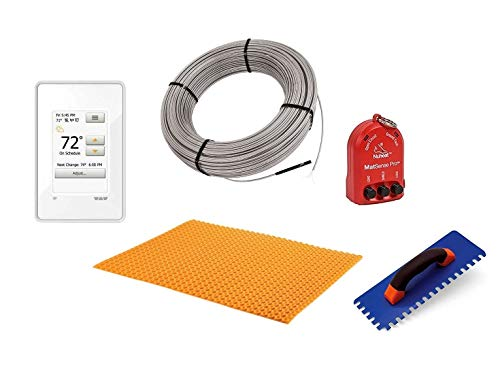 Schluter Ditra Performance Floor Heating Kit -51 Square Feet- Includes WiFi Touchscreen Programmable Thermostat, Heat Membrane, Heat Cable DHEHK12051, Safe Installation Tools
