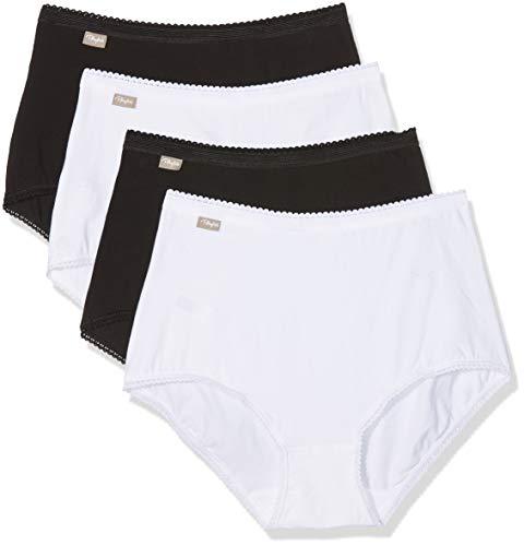 Playtex Coton Stretch Culotte Maxi Lot De 4 Braga Alta, Multicolor (Blanc/Noir 04x), 42 (Pack de 4 para Mujer)