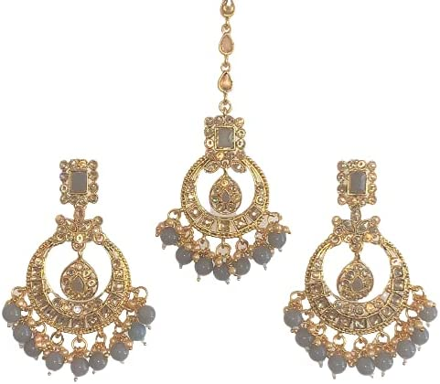 Gold Plated Indian Earring and Tikka Set