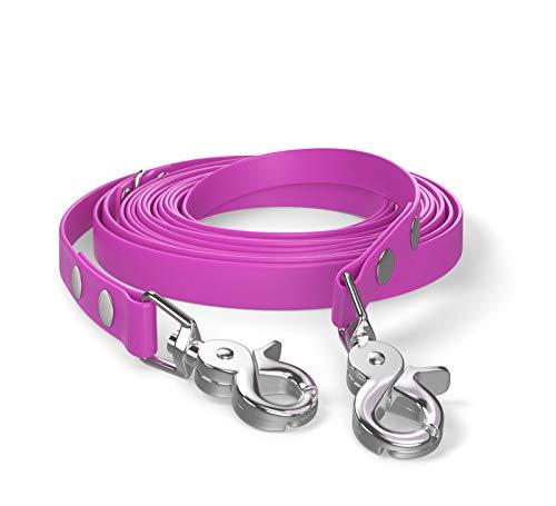 SNOOT 5m de Cable de Remolque, Correa para Perro, 2 mosquetones y Anillo D, Magenta, Muy Estable, Repelente a la Suciedad y al Agua.