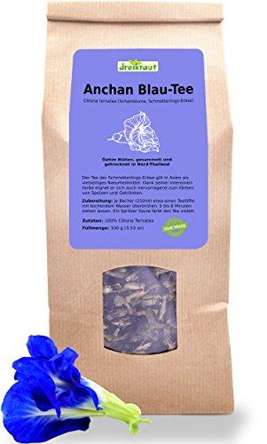 Té Azul- Anchan, paquete Grande, Flores enteras del guisante mariposa, Butterfly Pea, Clitoria de ternatea, recogidas a mano en las Montañas tailandesas, 100 g