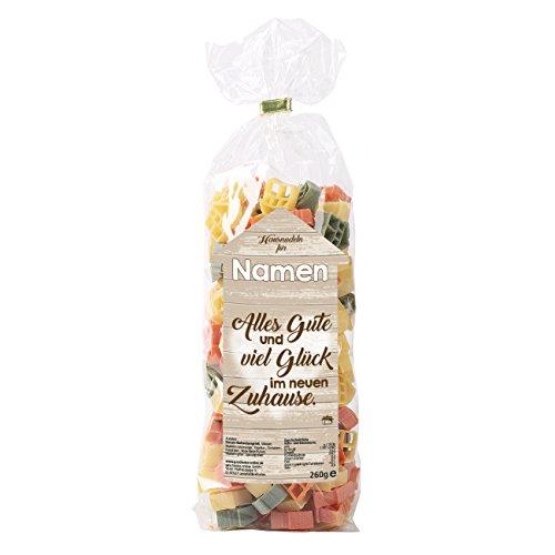 Herz & Heim® Nudeln als Einweihungsgeschenk - Alles Gute und viel Glück - mit Namen im Etikett