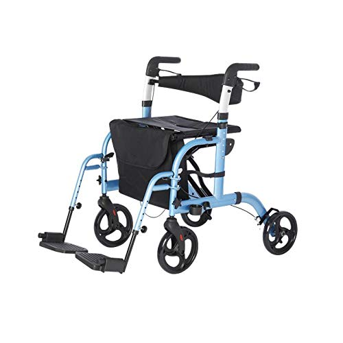 Lifestyle Mobility Aids Lightweight Folding Translator - 2 in 1 Rollator and Transport Chairs (Blue)