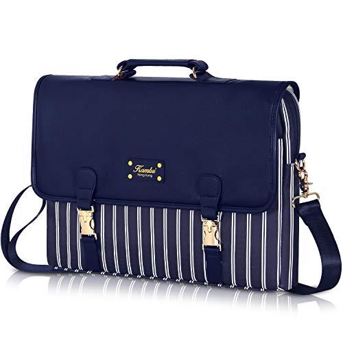Laptop Bag 15.6 inch - for Women PU Waterproof Laptop Case Shoulder Messenger Bag (Blue) …