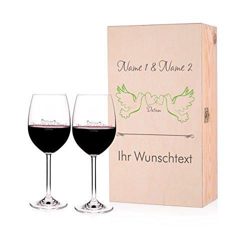 Leonardo 2 Weingläser Geschenk zur Hochzeit mit Gravur in Premium Verpackung