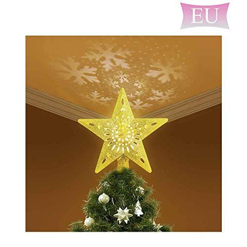 Roebii Weihnachtsbaumspitze Glitzernder Stern, Beleuchteter Christbaumspitzen Drehender LED-Schneeflocken-Projektor, 3D Hohl Stern Beamer Lichter Für Weihnachten Party, Familie, Hochzeitsdekoration