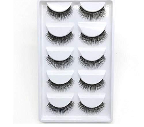 ZZDJ Faux Cils Maquillage 5 Paires de Cils 3D Faits à la Main Courts Faux Cils Cross Messy Dense Natural Eye Lashes Stage Makeup Faux Cils Y