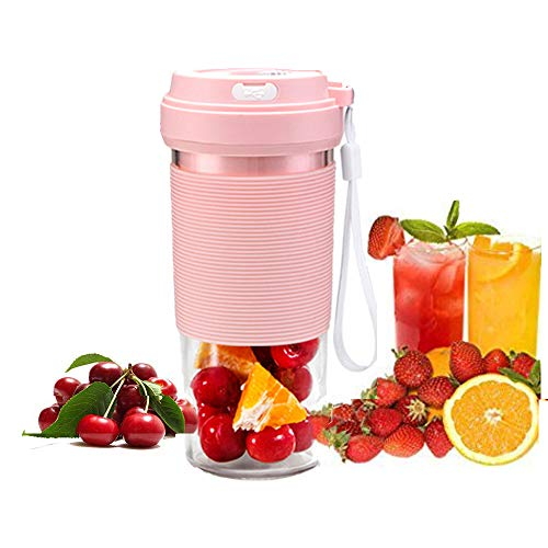 WXH Máquina de Frutas de Mano, Taza exprimidora Recargable USB de 11 oz, Arranque con una tecla, licuadora de Hielo para Llevar a casa, Manzana, Naranja, sandía, Fresa/Rosa