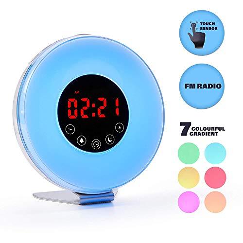 XGFSFL HO Weckwecker: Sunrise/Dawn Simulation Digitaler Wecker  LED-Anzeige Nachtlicht  7 Ändern der Farben Touch Control Snooze FM-Radio, Naturgeräusche für natürliches Aufwachen