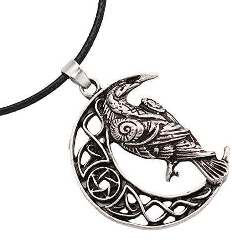 Collar de Cuervo Vikingo Accesorios Populares Europeos y Americanos Colgante de Luna Animal 2021