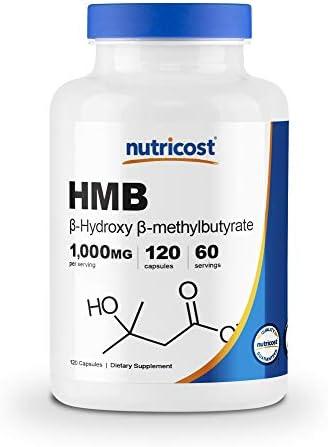 Nutricost HMB Beta Hydroxy Beta Methylbutyrate 1000mg 120 Capsules 500mg Per Capsule 60 Servings product image