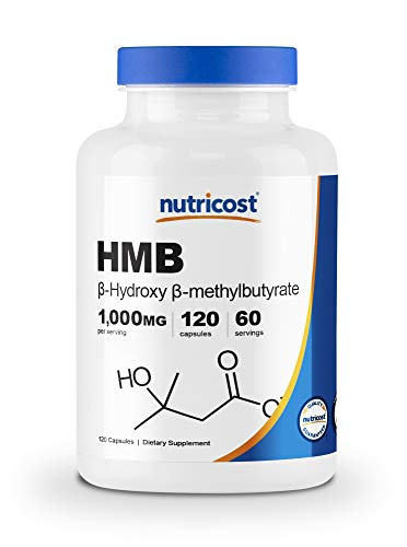Nutricost HMB (Beta-Hydroxy Beta-Methylbutyrate) 1000mg (120 Capsules) - 500mg Per Capsule, 60 Servings - Gluten Free and Non-GMO