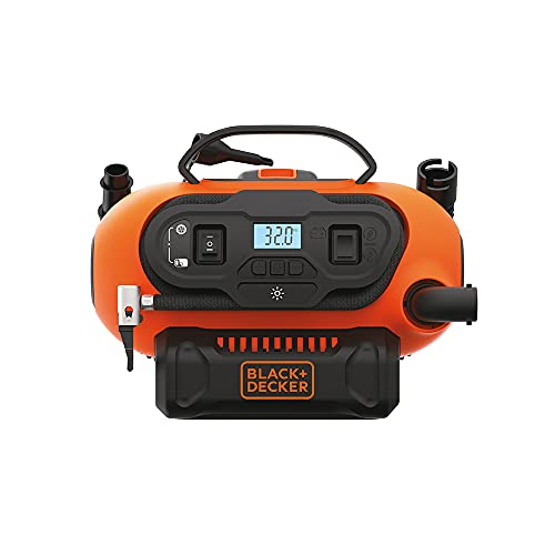 BLACK+DECKER 20V MAX Cordless Tire Inflator, Cordless & Corded Power, Tool...