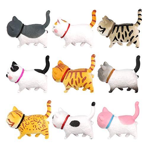 PTN Imanes Nevera, Gato Decorativo, Imán de Oficina con Diseño para Nevera o Gato, Adornos de Gatos, Imán Fuerte del Refrigerador del Gato Estéreo 3D, Imán Animal Decorativo Lindo del Imán(9 PCS)