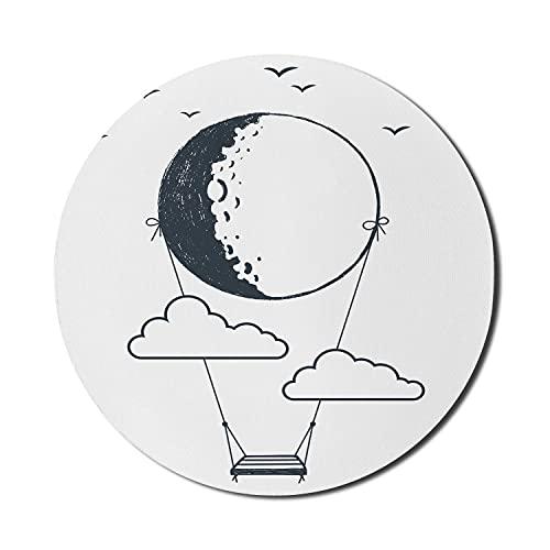 Abstraktes Mauspad für Computer, Schaukel vom Mond hängend mit Wolken- und Vogel-Silhouetten Handzeichnung, rundes rutschfestes dickes Gummi-modernes Gaming-Mousepad, 8 'rund, dunkelblau grau und weiß