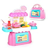 BeebeeRun Kitchen Playset 26 PCS Pretend Play Cooking Toy with Handbag Interactive Learning