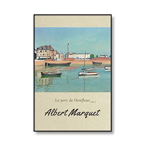 Impresiones artísticas del famoso puerto de Marsella de Albert Marquet y póster de pared para el hogar pinturas decorativas en lienzo sin marco A4 20x30cm