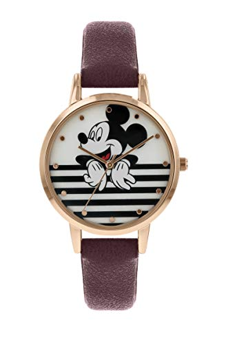 Disney Mickey Mouse MK5088 Damen-Armbanduhr, Rotgoldgehäuse, Burgunderrot