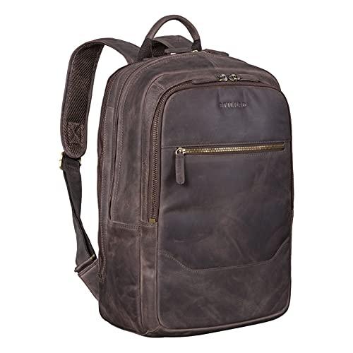 STILORD 'Reece' Business Lederrucksack Vintage Laptop Rucksack Großer Arbeitsrucksack DIN A4 Backpack XL Trolley Aufsteckbar aus Echtem Leder, Farbe:dunkel - braun