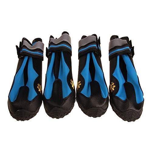 MYYXGS Botas de Lluvia Antideslizantes, Gatos y Perros, Cachorros, Zapatos Impermeables para Perros, Zapatos de plástico Reflectantes con Velcro, adecuados para Perros Grandes y medianos 5.1 * 5.4 cm
