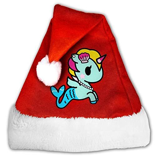 Süße Eiscreme-Einhorn-Narwals Unisex Weihnachtsmannmütze, Komfort rot und weiß, Plüsch-Samt, Weihnachtsparty-Hut Gr. 54, 8
