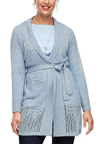 TRIANGLE Damen Strickjacke mit Ajourmuster Light Blue 52