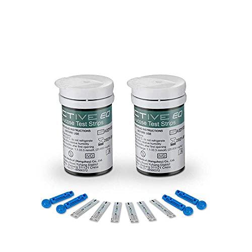 ATIN Diabetes Test Strips Bloed Glucose Test,50x Exactieve EQ Bloed Glucose Test Strip Codefree 50x Lancet Dagelijks Gebruik