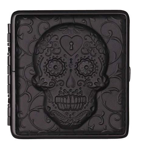 Zigarettenetui schwarz Leder Totenkopf mit Bügel - je für 20 Zigaretten (Normale Länge 85mm) (Sugar Skull - schwarz)