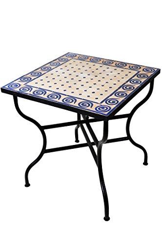 ORIGINAL Marokkanischer Mosaiktisch Gartentisch 70x70cm Groß eckig klappbar | Eckiger klappbarer Mosaik Esstisch Mediterran | als Klapptisch für Balkon oder Garten | Spirale Natur Blau 70x70cm