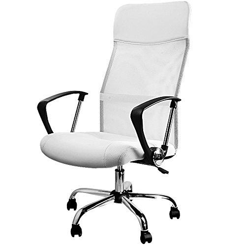 Deuba Silla de Oficina Blanca con Ruedas giratorias sillón ergonómico con Altura Ajustable Silla de Interior Escritorio