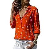 Ropa de mujer barata de marca Camisa Cuello en V profundo Forma de amor Impresión de lunares Ocio flojo talla grande S-3XL