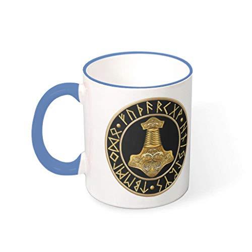 Taza de café con diseño de martillo vikingo, taza de porcelana, 330 ml, color azul