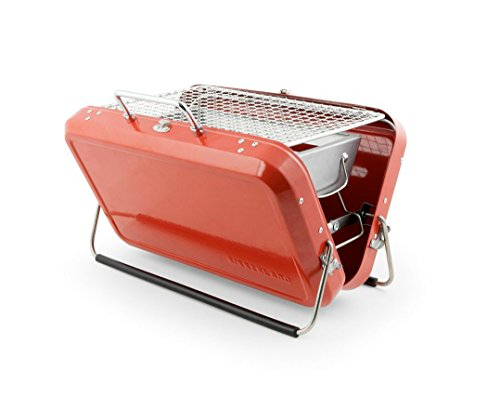 Kikkerland BQ01-RD Portable BBQ Suitcase, Red
