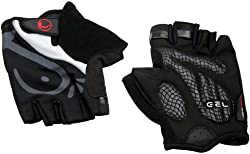 Ultrasport Advanced Bicycle / Training Gloves, half-finger, with gel insert / padding in the palm of the hand, mesh insert on the back of the hand, black, M