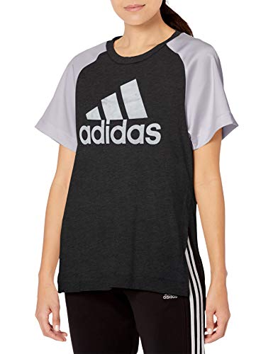adidas Glam On tee AEROREADY atlético, Camisas, Black Melange/Grey, M para Mujer