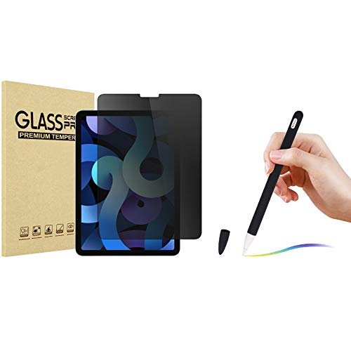 ProCase iPad Air 4 10.9 Inch 2020 Privacy Screen Protector Bundle with Soft Silicone Case for Apple Pencil 2nd Generation, iPad Pro 12.9 Inch / 11 Inch