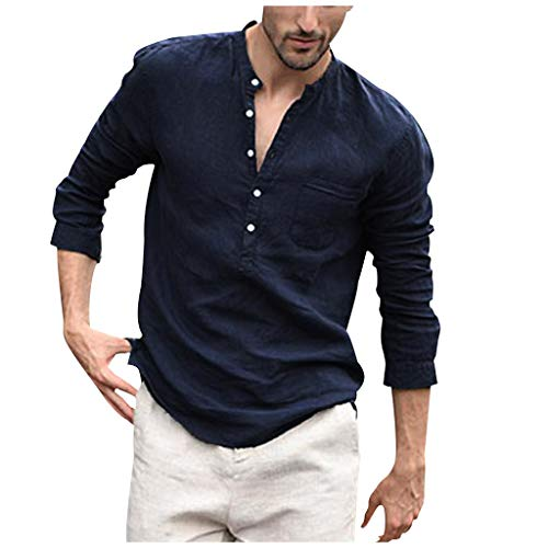 Yivise - Maglietta da uomo in cotone e lino, stile casual, a maniche lunghe, leggera, da spiaggia Marina Militare XXL
