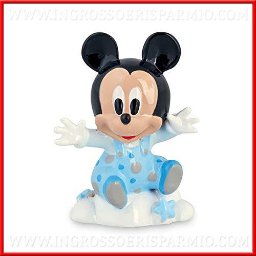 Schön und Kostenersparnis in Form von Baby Micky Maus mit hellblauen Latzhose, aus Kunstharz, Disney, Gastgeschenke Nascita Taufe, Geburtstag