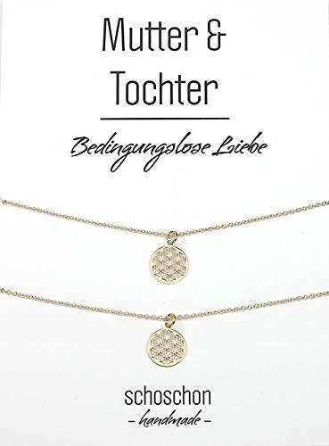 SCHOSCHON Damen Mutter Tochter Lebensblume Halsketten Set 925 Silber vergoldet ø 12 mm // Schmuck Blume des Lebens Partnerlook Geschenk