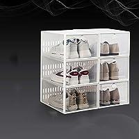 6 パック積み重ね可能な靴の収納ボックス,折りたたみ 式 ポータブル クローゼット用クリアプラスチック製の靴箱,エントリーウェイの靴ラック,寝室,リビング ルーム-A 33.7x23.3x15.3cm(13x9x6inch)