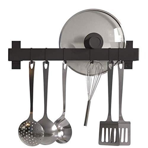 KES - Perchero de pared para utensilios de cocina (17 pulgadas, barra de metal sin taladrar, 6 ganchos deslizantes en forma de S, color negro mate, KUR217S43DG-BK)