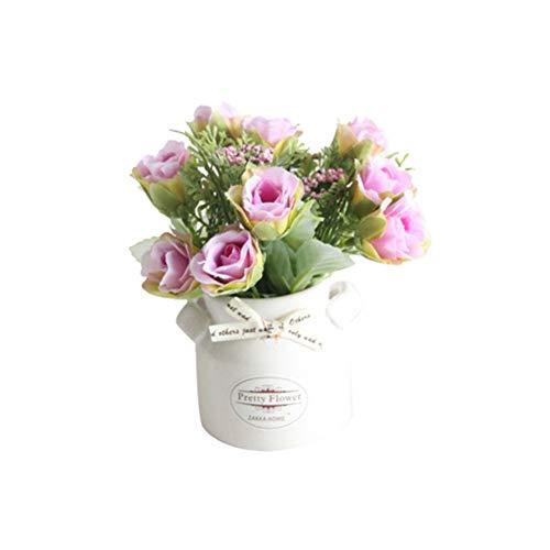 Homeofying - 1 mazzo di fiori artificiali con vaso in ceramica, per bonsai, palcoscenico, giardino, matrimonio, casa, festa