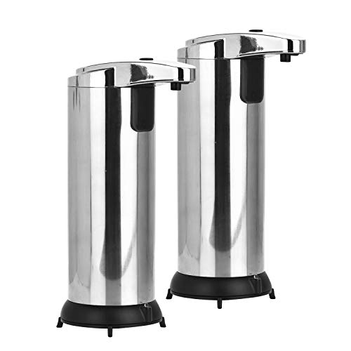 2 Pack Automatic Soap Dispenser, Touchless Soap Dispenser Equipped with Stainless Steel, Infrared Motion Sensor Soap Dispenser with 3 Adjustable Dispensing Volume for Bathroom Kitchen Hotel (2 Pack)