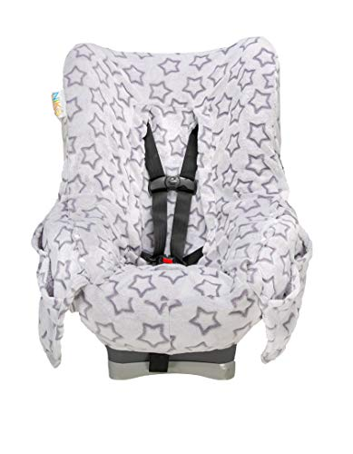 Niko Easy Wash Children's Car Seat Cover & Liner -Minky -Silver Star -Perfect for Winter Weather-Universal Fit -Crash Tested -Waterproof SEAT Bottom -Mess Protection -Easy to Clean -Machine Washable